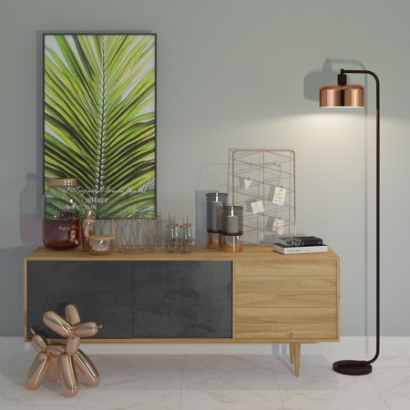 Cadmus Modern Industrial Floor Lamp with Polished Copper Shade and Blackened Bronze Hardware