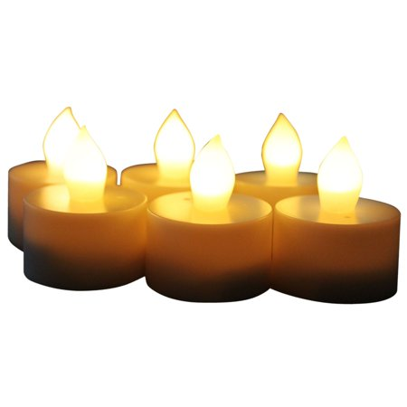 EcoGecko Set of 6 Indoor/Outdoor Flameless LED Tealight Candles with 4 or 8 hour timer ()