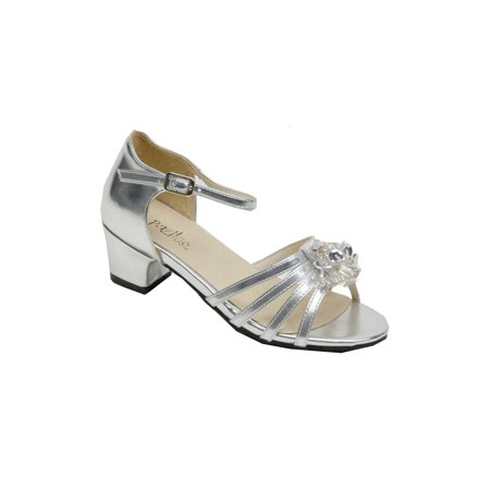 Pazitos Girls Silver Star Dust Beaded Applique Kitten Heel Sandals
