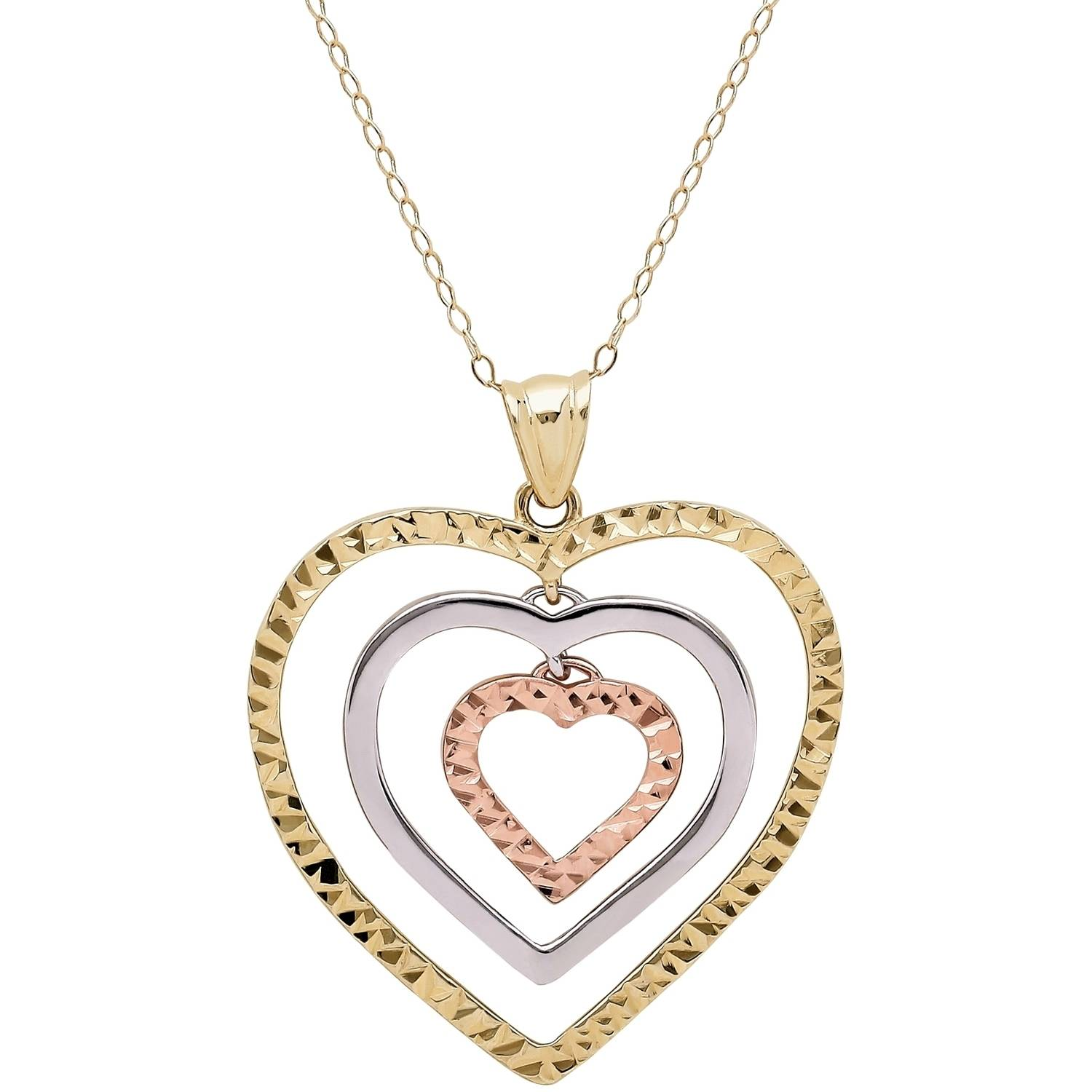 Simply Gold 10kt Yellow, White and Pink Gold Triple Open Heart Pendant by Richline Group Inc