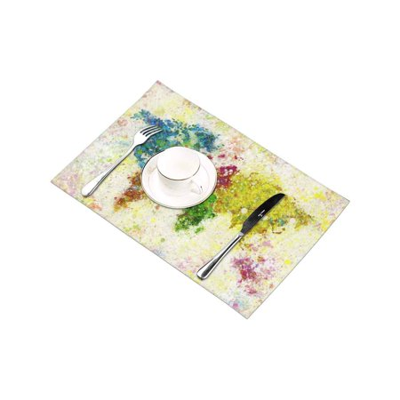 YUSDECOR World Map Painting Placemats Table Mats for Dining Room Kitchen Table Decoration 12x18 inch,Set of 4 - image 1 of 4
