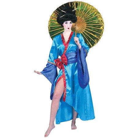 Woman's Blue Kimono Robe Costume~Standard / Blue](Kimono Geisha Costume)