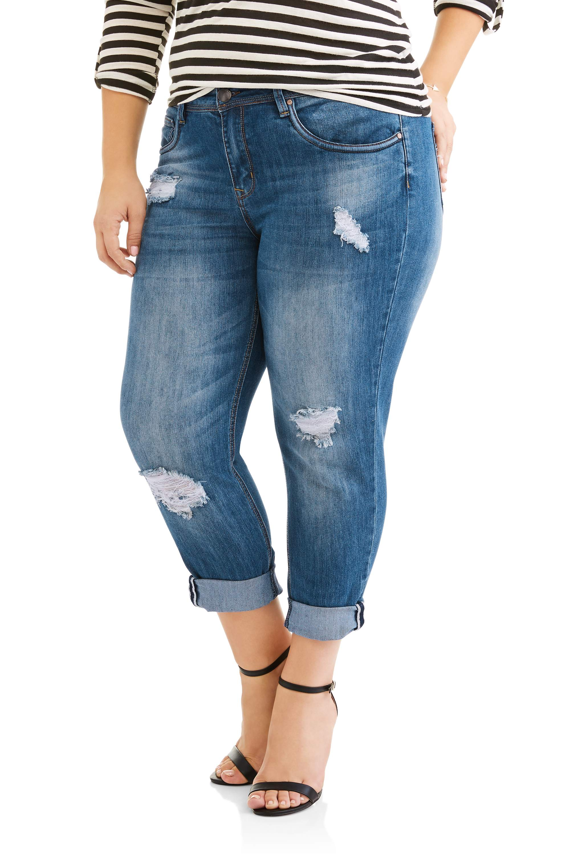 21e5b7a80 Juniors' Plus Size Cuffed Medium Wash Cropped Boyfriend Jeans With  Destruction