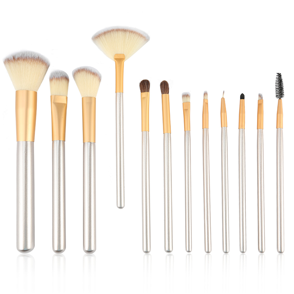 Beige 12pcs/kits Classic Beige Wood Handle Cosmetic Professional Makeup Brushes Set Kit For Face Make Up Beauty Fashion