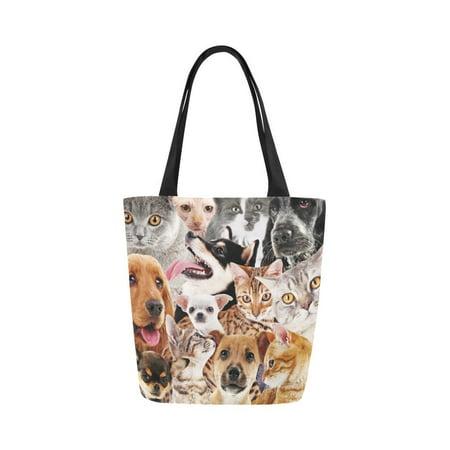 HATIART Dog and Cat Canvas Tote Bag Shoulder Handbag Grocery Bag for School Shopping Travel - image 3 de 4