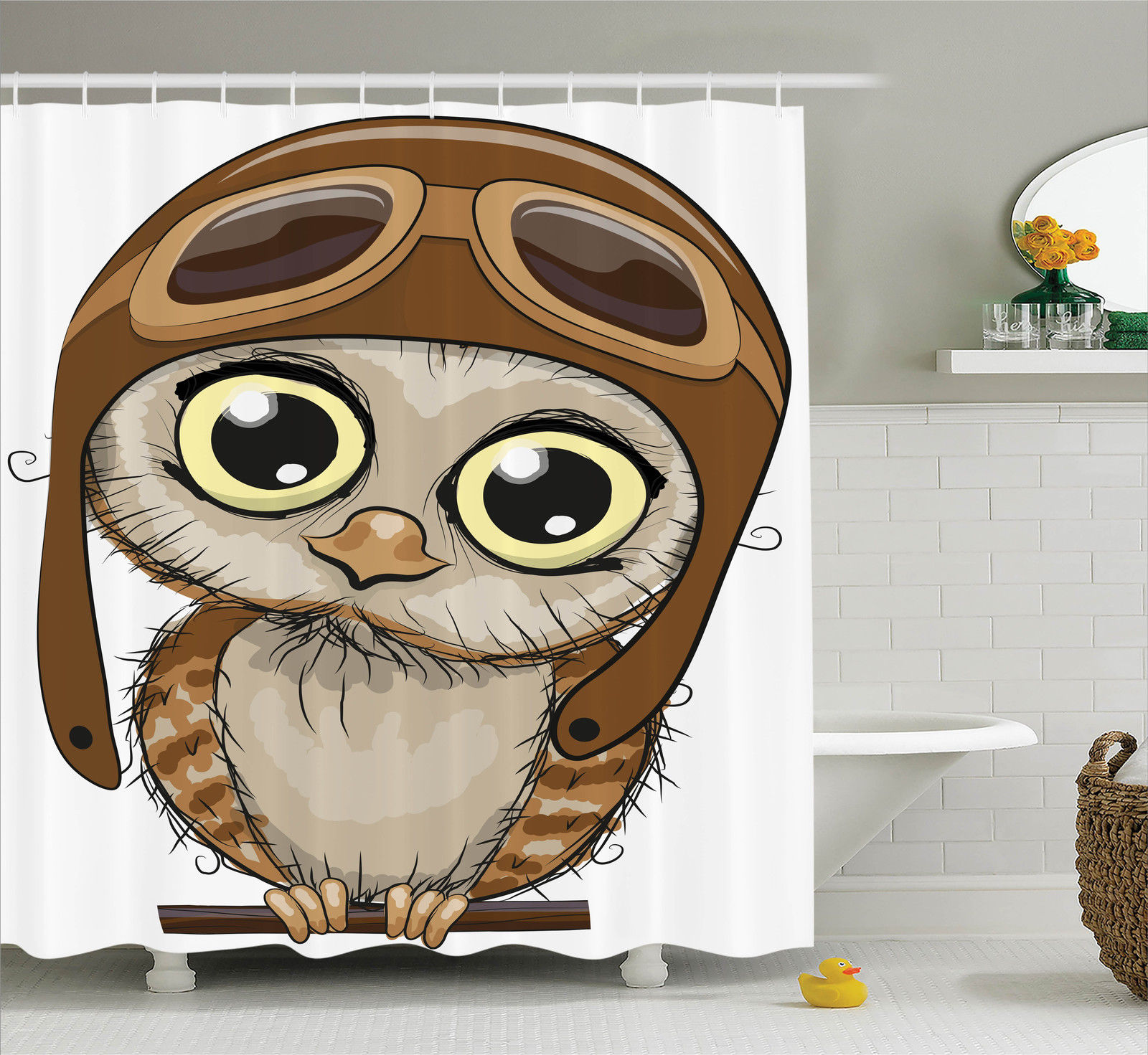 Owls Home Decor Shower Curtain Set, Owl In A Pilot Hat Big Eyes Caricature  Characters