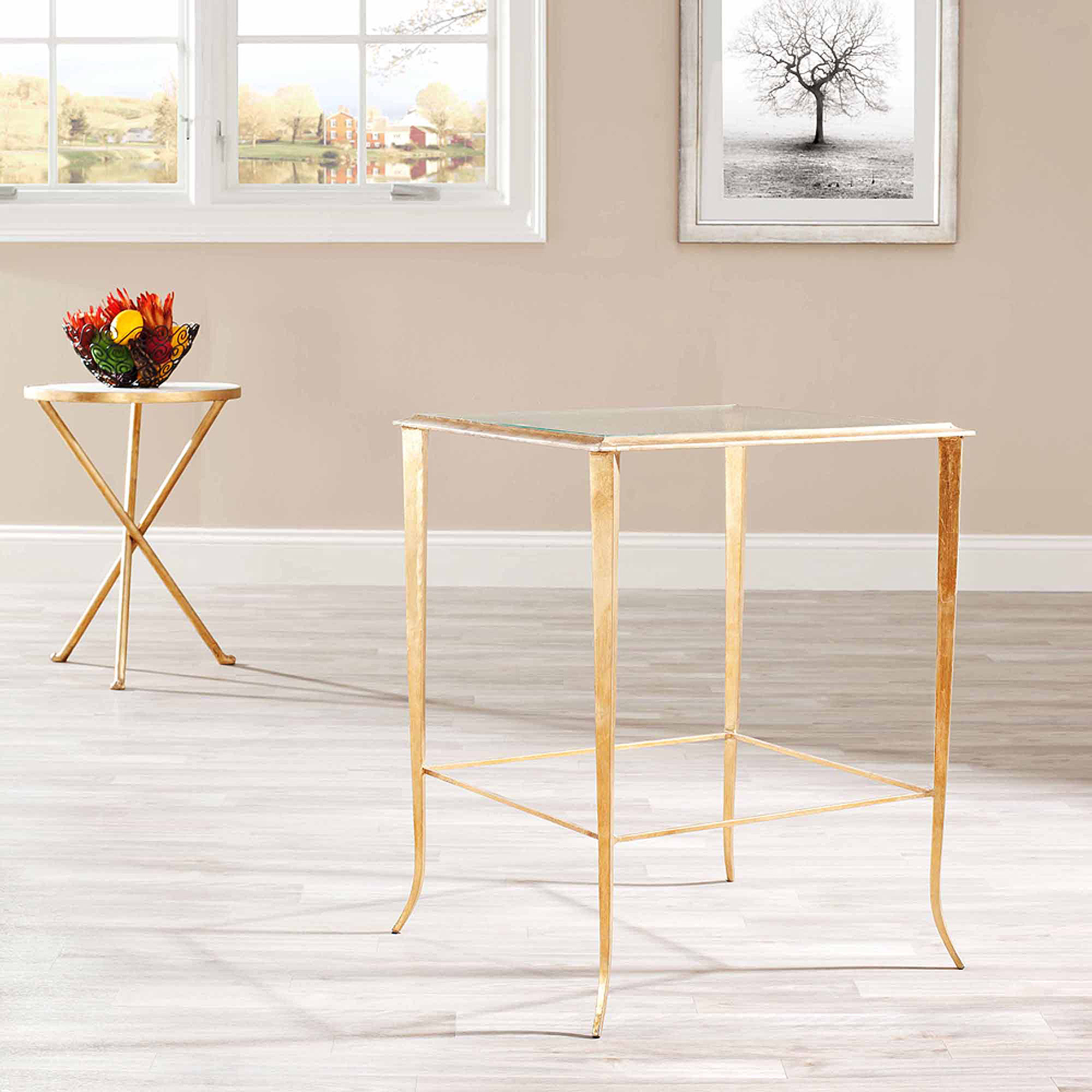 Safavieh Tory Accent Table, Clear Glass Top/Gold Legs