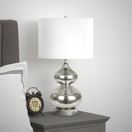 Katrin Modern Glam Double Gourd Table Lamp in Mercury Glass with Linen Shade ()