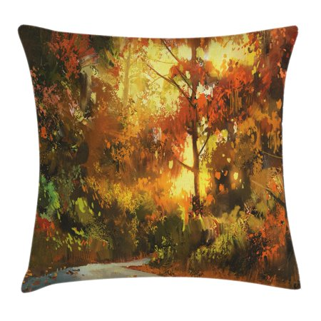 Fantasy Art House Decor Throw Pillow Cushion Cover, Pathway in Autumn Forest with Shady Leaf of Deciduous Trees View, Decorative Square Accent Pillow Case, 16 X 16 Inches, Orange Yellow, by Ambesonne ()