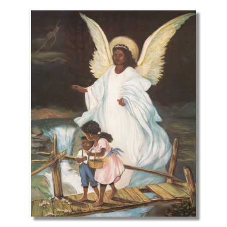 Guardian Angel Children Bridge Black Wall Picture Art Print