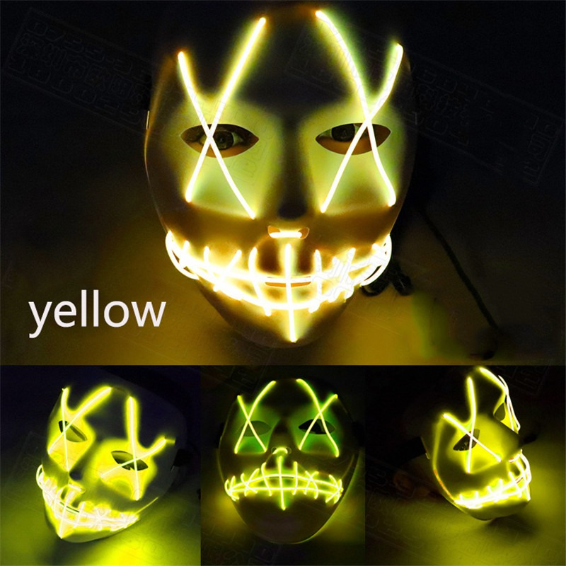 Scary Mask Halloween Cosplay Led Costume Mask El Wire Light Up Mask for Festival Parties Blue