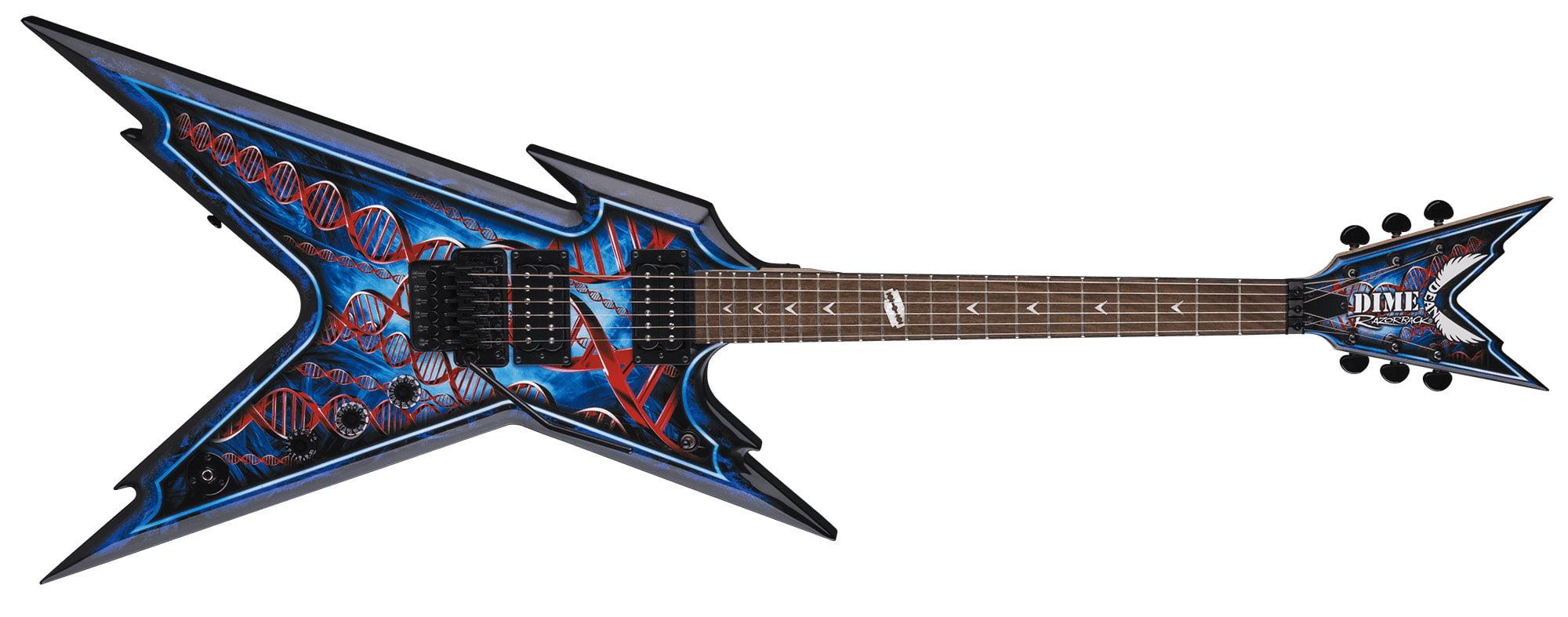 Dean 6 String Dimebag Razorback Floyd Electric Guitar & Case DNA Splatter Grapic by