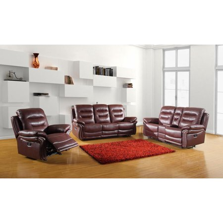 Global Furniture 9392 Burgundy Sofa Set w/Console Loveseat Air/Leather  Match 3Pc