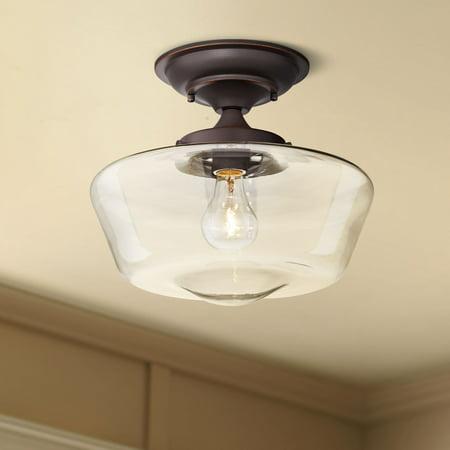Regency Hill Schoolhouse Ceiling Light Semi Flush Mount Fixture Oil Rubbed Bronze 12