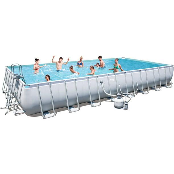 Power Steel 31 3 X 16 X 52 Rectangular Frame Swimming Pool Set With Sand Filter Pump Walmart Com Walmart Com