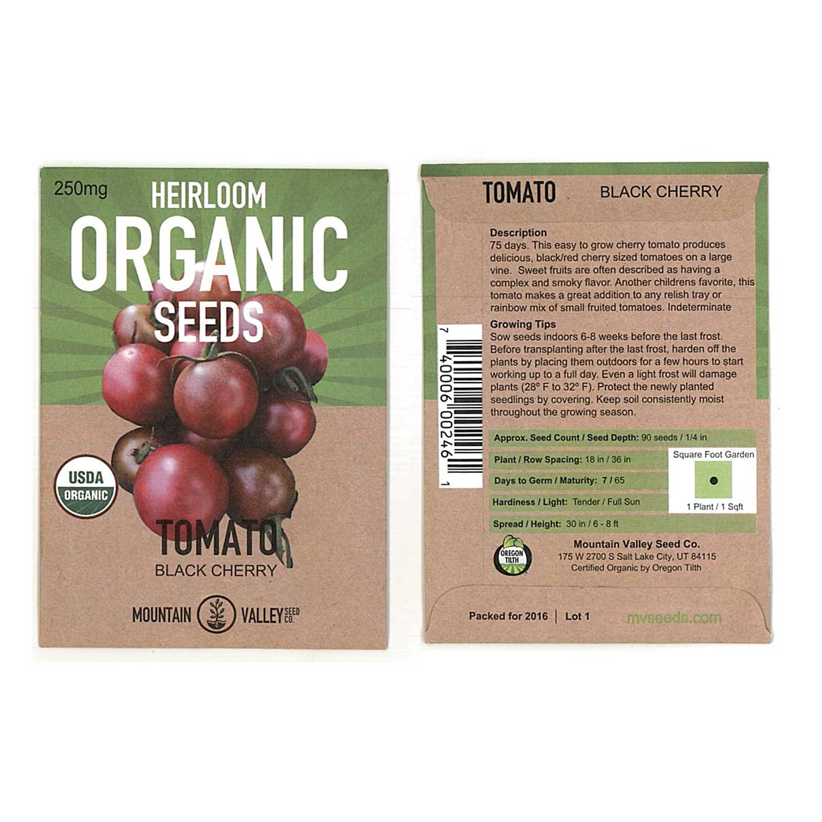 Tomato Garden Seeds -Black Cherry - 250 mg Packet - Non-GMO, Organic Vegetable Gardening Seed