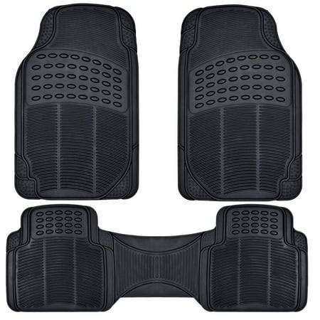 BDK Front and Back ProLiner Heavy Duty Car Rubber Floor Mats for Auto, 3 Piece Set