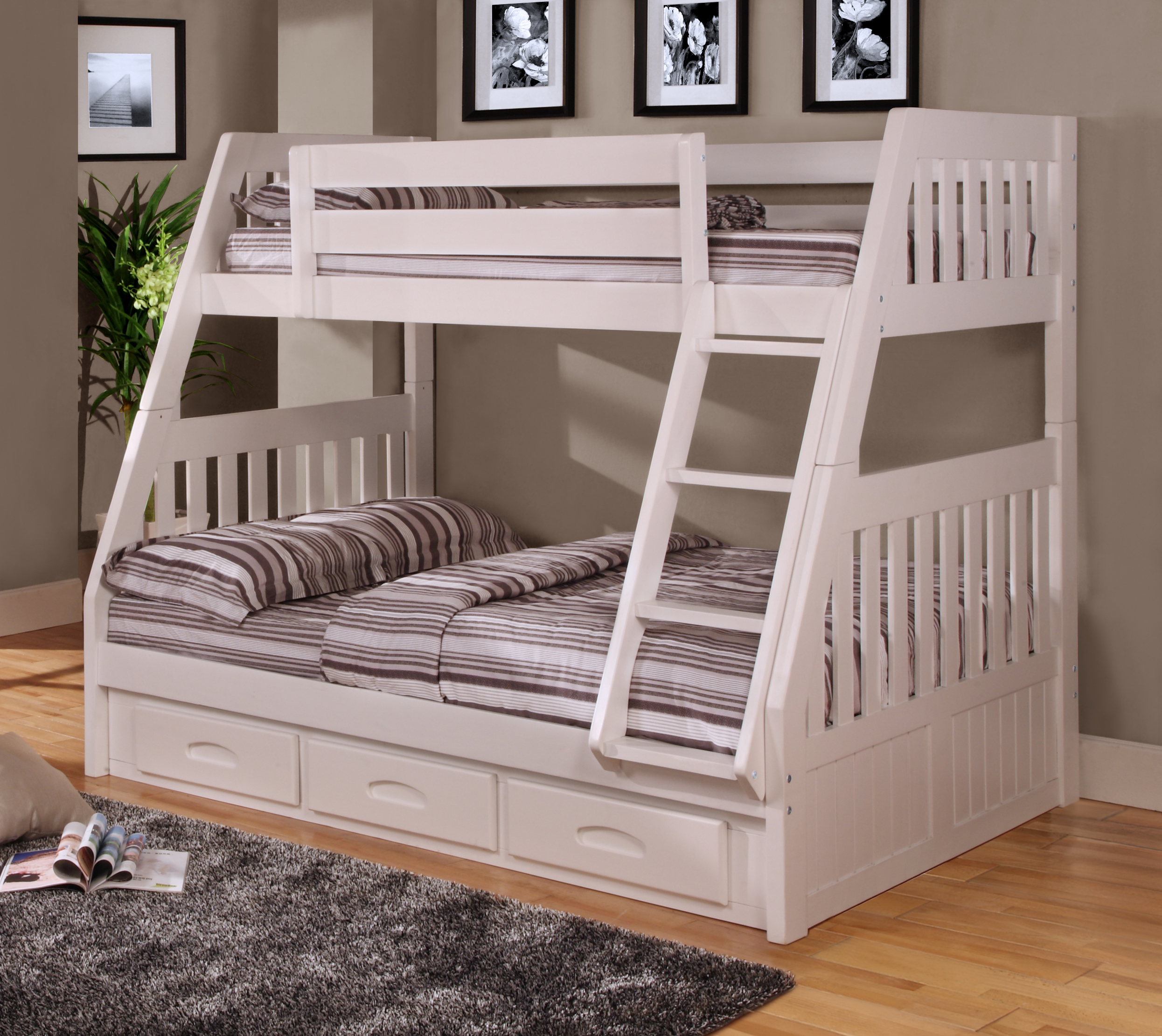 american furniture classics model 0218tfw solid pine twinfull bunk bed with