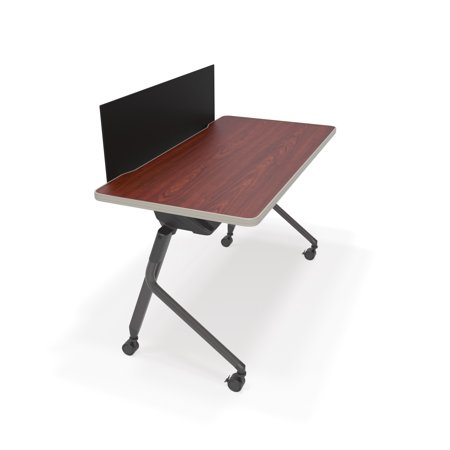 - 66123-CHY-BLK Office Furniture 23.50 Inch x 47.25 Inch Mesa Series CHERRY Nesting Training Table / Desk with BLACK Privacy Panel