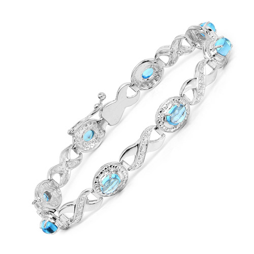 5.60 ct. Genuine Swiss Blue Topaz Sterling Silver Bracelet by DAZYLE