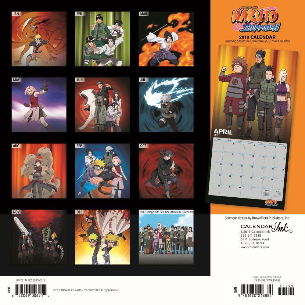 Naruto Calendar 2019 2019 Naruto Wall Calendar, Anime by Calendar Ink   Walmart.com
