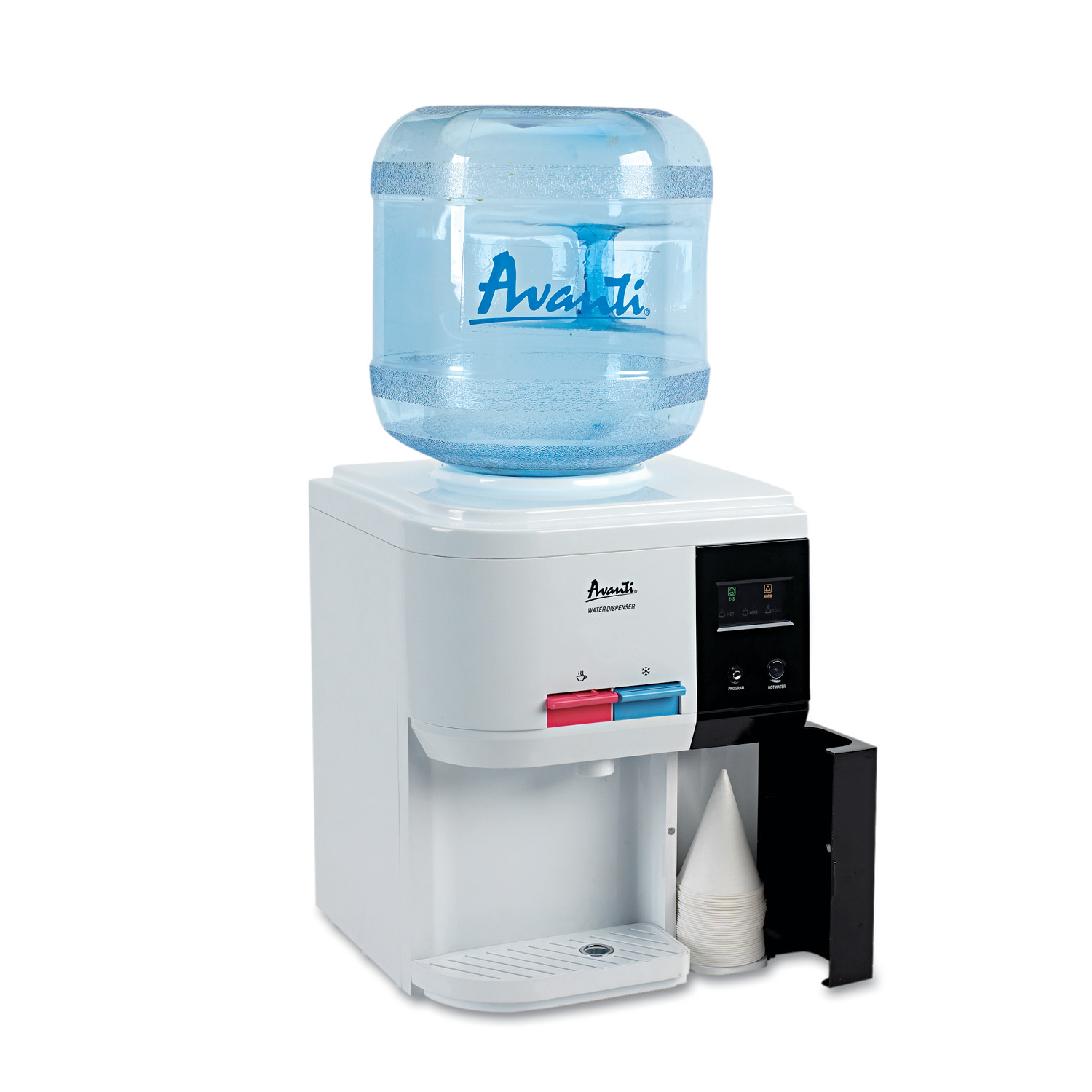 "Avanti Tabletop Thermoelectric Water Cooler, 13 1/4"" dia. x 15 3/4h, White"