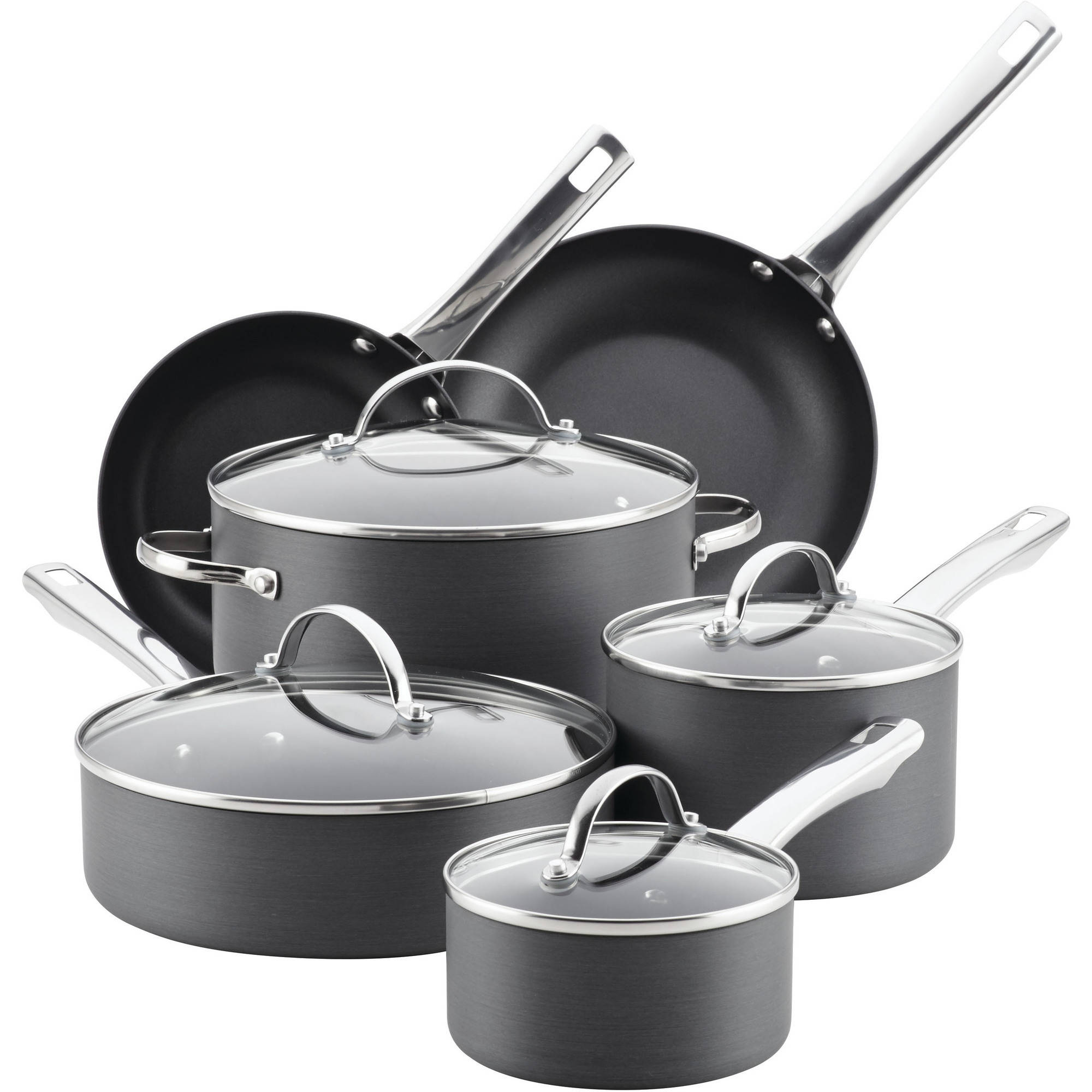 Farberware Hard-Anodized Aluminum Nonstick Cookware Set, 14-Piece, Gray by Meyer Corporation