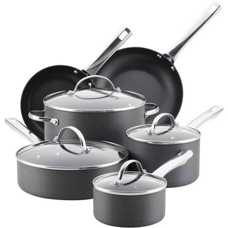 (Farberware Hard-Anodized Aluminum Nonstick Cookware Set, 14-Piece, Gray)