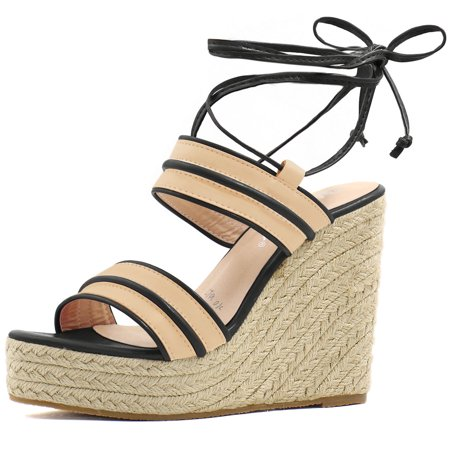 Brown Espadrille - Unique Bargains Women's Striped Ankle Tie Espadrille Wedge Sandals