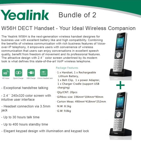 Yealink W56H Bundle of 2 IP DECT VoIP Phone Handset, HD Voice, Quick Charge