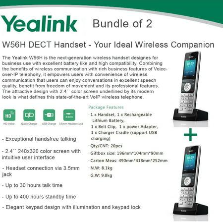 Yealink W56H Bundle of 2 IP DECT VoIP Phone Handset, HD Voice, Quick (Voip Solution)