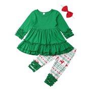 Multitrust Toddler Kids Baby Girl Christmas Clothes Tops Dress + Print Pants