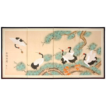 Oriental Home Handmade 'Homeward Bound' Silk Painting - Oriental Silk Lanterns