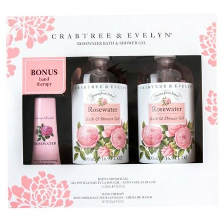 Crabtree & Evelyn Rosewater Bath & Shower Gel 16.9 fl oz X 2 Gift Set w Bonus