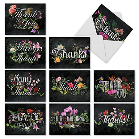 'M2358TYB CHALK AND ROSES' 10 Assorted Thank You Note Cards Featuring Chalkboard Styled Written Gratitudes Combined with Beautiful and Colorful Floral Sprays with Envelopes by The Best Card