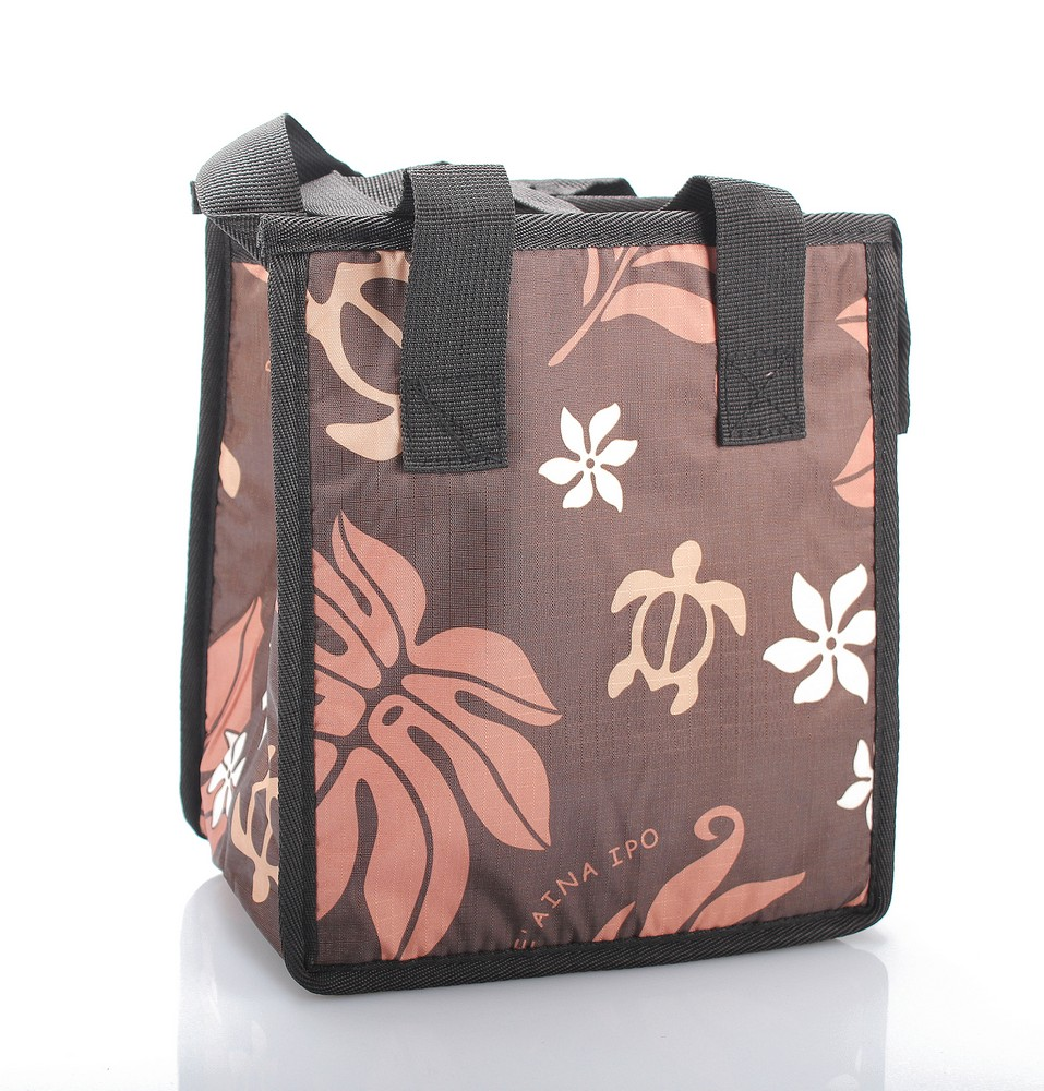 Hawaiian Print Thermal Insulated Zipper Lunch Bag Turtle and Leaf in Brown