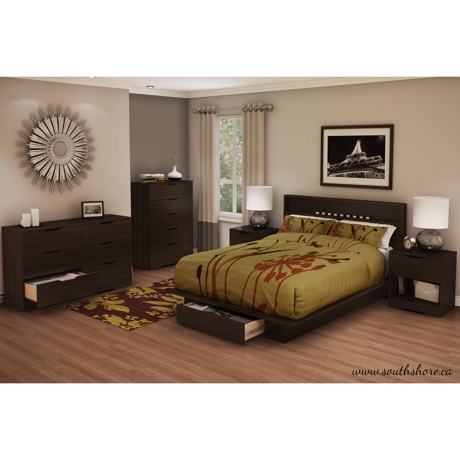 south shore holland fullqueen platform bed with drawer multiple finishes walmartcom