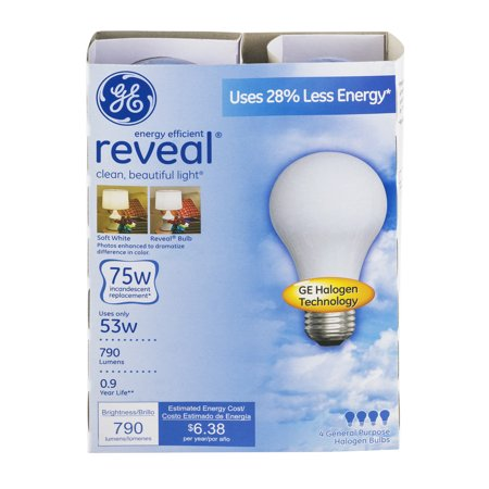 GE Reveal Halogen Light Bulbs, 75W, 2-count