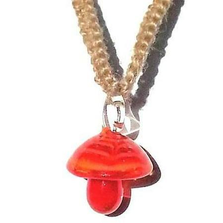 - 1PK Hemp Choker Necklace with Orange Glass Mushroom Pendant