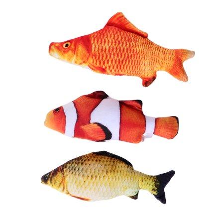 3Pcs Creative Fish Shape Toy Cat Playing Soft Plush Stuffed Toy Home Decor Gifts Size S (Clown Fish Carp Crucian) - Plush Fish