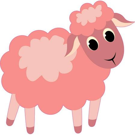 5in x 5in Right Facing Pink Die Cut Sheep Bumper Lamb Sticker Stickers Vinyl Ewe Window Decal Decals