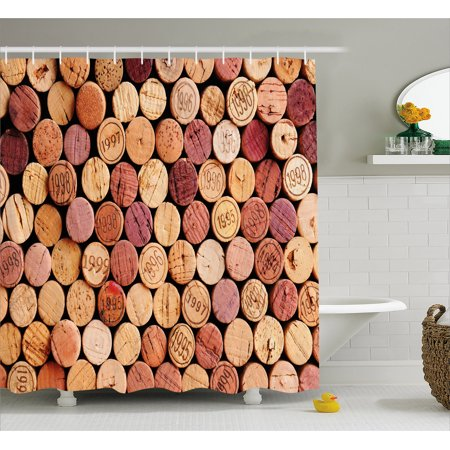 Wine Shower Curtain Random Selection Of Used Corks Vintage Quality Gourmet Taste Liquor