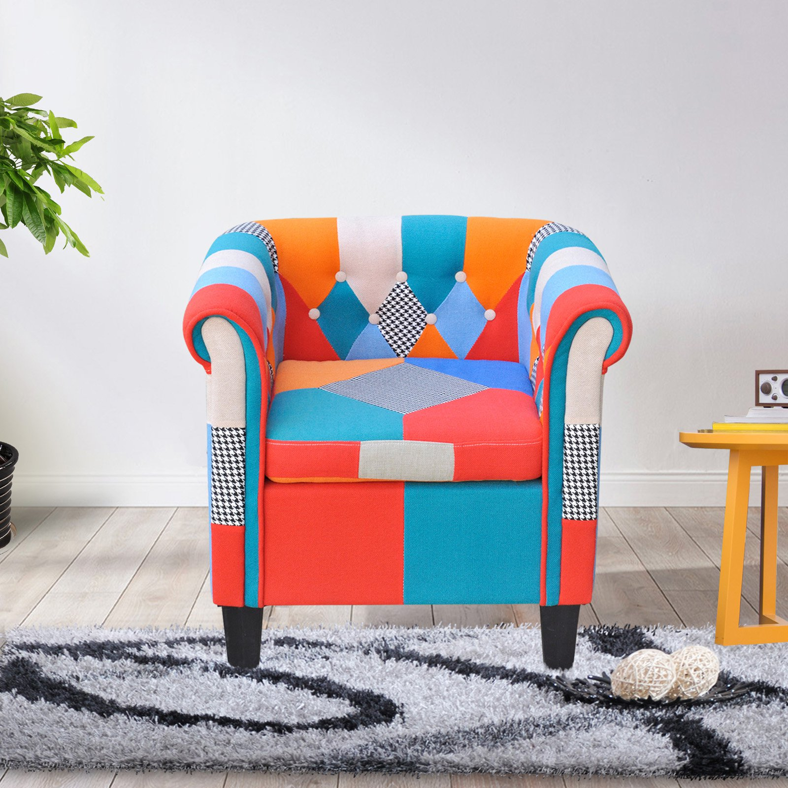 Cloud Mountain Multi-Color Patchwork Tufted Armchair by Cloud Mountain