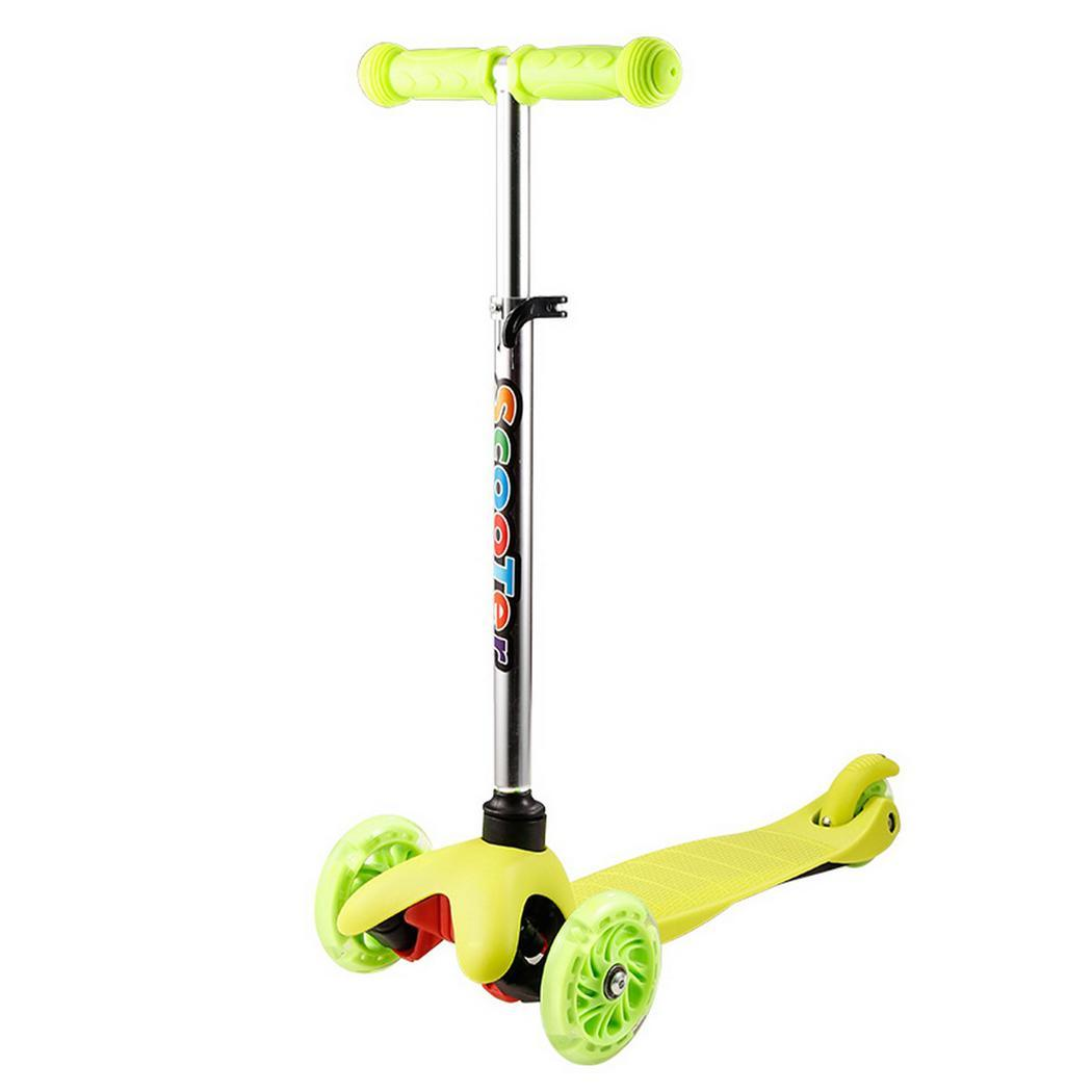 Kids 3-Wheel 4 Levels Adjustable Height Kick Scooter with LED Light Up Wheels by