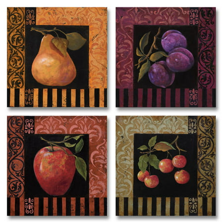 4 Vintage Colorful Fruit Prints, Four 12X12 Poster Prints