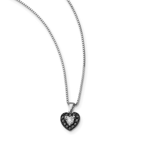 Sterling Silver Black and White Diamond Heart Pendant Necklace 18 Inch - image 3 de 3