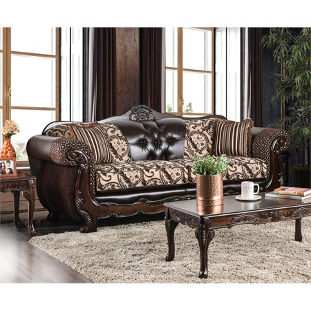 Furniture of America Elly Traditional Faux Leather Sofa in Dark Brown