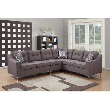 Kayla Collection 4 Piece Modern Linen Fabric Upholstered Tufted L-Shaped Living Room Sectional, (Four Sectional)