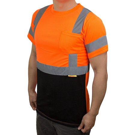 NY BFS8511 High-Visibility Class 3 T Shirt with Moisture Wicking Mesh Birdseye, Black Bottom (5XL, (Mesh T-shirt)