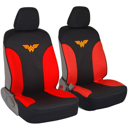 DC Comics Wonder Woman Car Seat Covers - 100% Waterproof Covers, Front 2 Pairs, Original License Products